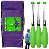 Passe Passe Kit 3 Club di Giocoleria perpetuo Giochi di destrezza 5 a 9 Anni, 45 Centimetri + Zaino Verde