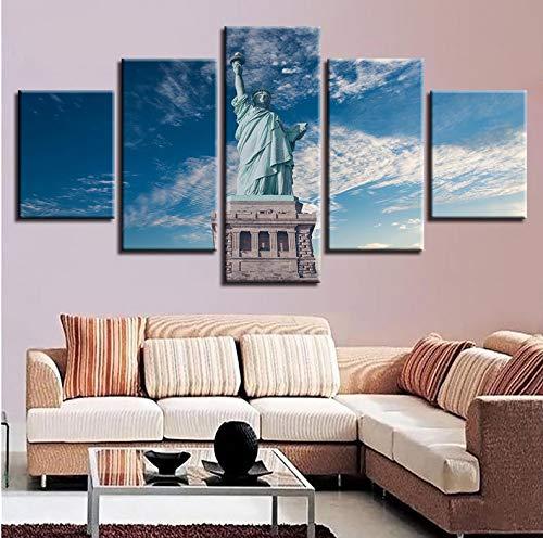 Wiwhy Wandkunst Hd Druckt Wohnkultur Nacht Hintergrund 5 Stücke Statue Liberty Malerei Modulare BilderKunstwerk Poster-20X35/45/55Cm