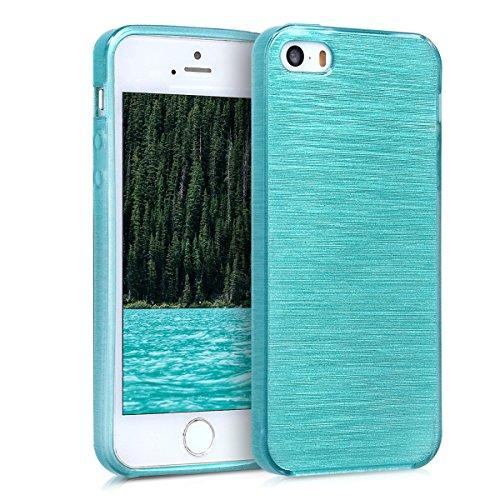 Kwmobile cover per apple iphone se / 5 / 5s - custodia in silicone tpu - back case protezione posteriore per cellulare design alluminio spazzolato menta trasparente