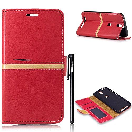 Elephone P8000 Rot,BtDuck PU Leder Design Handyhülle Hülle Buch Leder Stand Halter Tasche Flip...