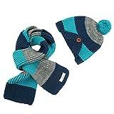 Ouneed® - Sciarpa e berretto a maglia per bambino, invernale multicolore blu