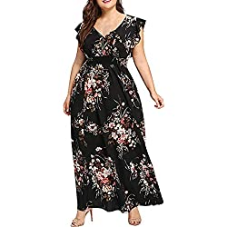 OverDose Soldes Robe Été Bohème Femme Grande Taille en Mousseline Imprimé Floral, Col V Manches Courtes Maxi Manchon Papillon Robe de Soirée Taille L-5XL (Noir,48)