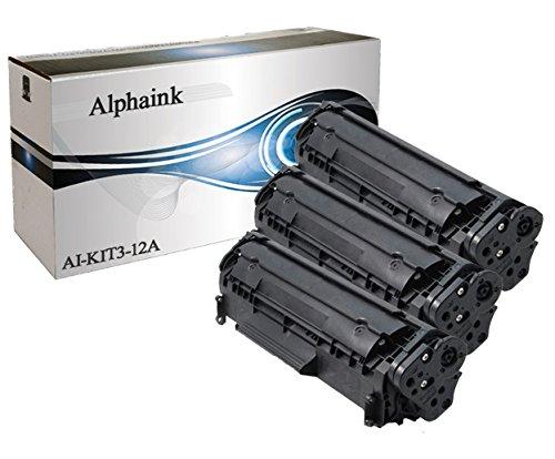 Alphaink AI-KIT3-Q2612A Kit 3 toner per HP compatibile Q2612A Laserjet 1010,1012,1015,1018,1020,1022N,1022NW,3015,3015 AIO,3020,3020 AIO,3030,3030 AIO,30303MFP,3036,3050,3050 AIO,3052,3052 AIO,3055,3055 AIO,M1005,M1005 MFP,M1319F,M1319F MFP,2000 copie