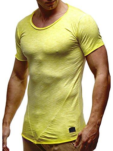 LEIF NELSON Herren Oversize verwaschene T-Shirts Rundhals Shirts Basic LN6281-1; Größe XXL, Verw. Gelb | 04251460502849