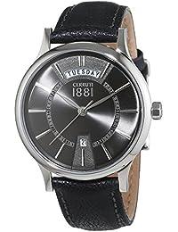 Cerruti 1881 señores-reloj analógico de cuarzo cuero VARALLO CRA128SN61BK