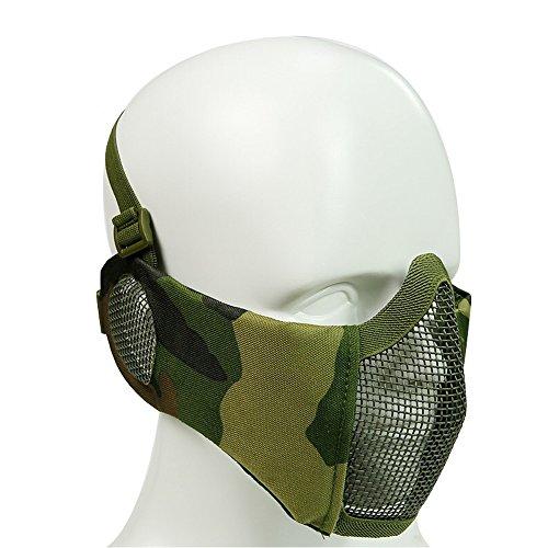 Halbe Maske Mesh Gesichtsmaske Mundschutz mit Gehörschutz Taktische Paintball Schutz Masken Camo für Softair Jagd Halloween (8 Farbe) ()