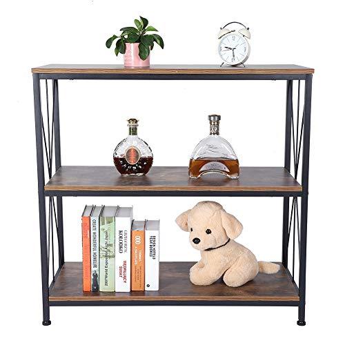 EBTOOLS 3 Ebenen Lagerregal Standregale Schreibtisch Flurtisch Konsolentisch Sideboard Beistelltisch Dekotisch Schminktisch Holz und Metall, Industrie-Design, 90 * 81 * 38cm