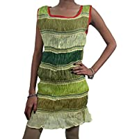 Mogul Interior Women's Crinkle Sleeveles Boho Summer Dress Large Green