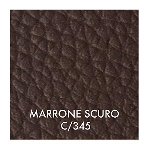 Tessuto ecopelle morbida finta pelle a metraggio a partire da 50 cm (lunghezza) x 140 cm (larghezza fissa) - per arredo divani, sedie (1/2 metro, marrone scuro)