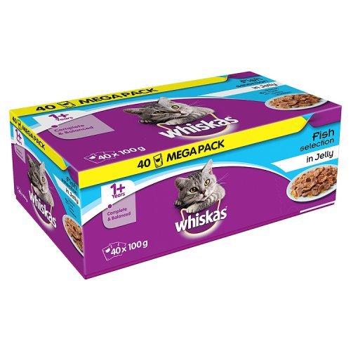 Whiskas 1Plus Cat Pouches pesce selezione in gelatina, 100g (confezione da 40)