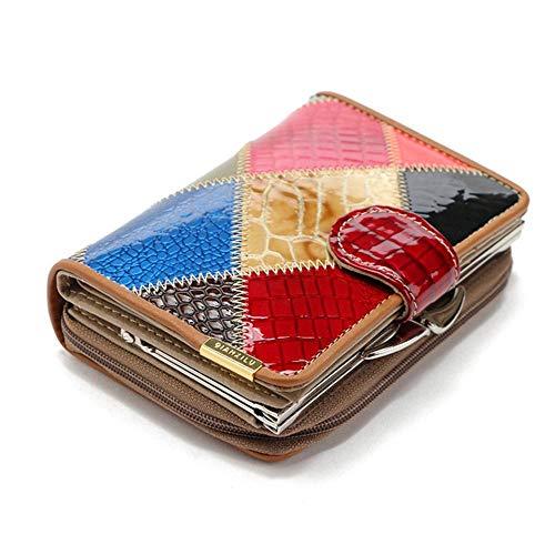 ZhiGe Portmonee Damen Frauenbrieftasche Damenbörse, Patent Leder Brieftasche Frau Kurze kurzer Hand Tasche Reißverschluss Schnalle 0 Wallet 12,5 * 8,4 * 4 cm -