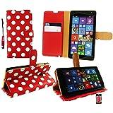 Emartbuy® Eingabestift Packfür Microsoft Lumia 535 / Lumia 535 Dual Sim Mini Metallic Rot Eingabestift + Brieftaschen Wallet Etui Hülle Case Cover aus PU Leder Polka Dots Rot Weiß mit KRotitkartenfächern + LCD Displayschutz