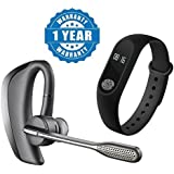 Captcha® Voyager Legend Series Bluetooth Talk & Music Headset With Intelligence Fitness Band With Heart Rate Sensor/Pedometer/Sleep Monitoring Compatible With Xiaomi, Lenovo, Apple, Samsung, Sony, Oppo, Gionee, Vivo Smartphones (One Year Warranty)