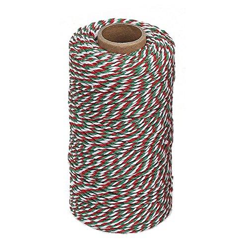 Vivifying 100m Rot, Grün und Weiß Baumwollschnur, Ideal für DIY Handwerk, Geschenkverpackungen