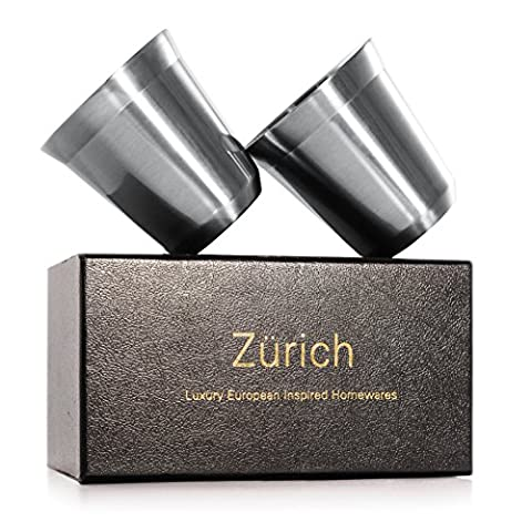Espresso Cups 160mL - 2 x Double Wall Stainless Steel Espresso cup in Beautiful Finish by Zurich. Vacuum insulated. ( 5.5-oz ) alternative for DeLonghi, Bodum and Nespresso