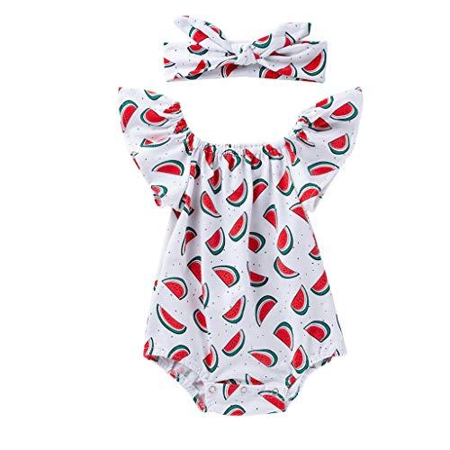 Knowin-baby body Entzückende Baby Fliegen Hülsen Wassermelone Druckspitze + Haar Bügel Set Overall Sunsuit Kinder Kleidung Modestraße Schoss Schönes Aussehen (Son Goku Baby Kostüme)