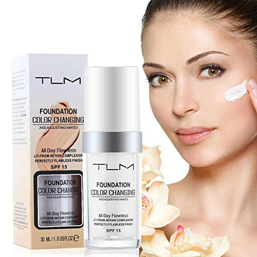 TLM Flawless Farbwechsel Warm Skin Tone Foundation, Make-up-Basis Nude Face Liquid Cover Concealer