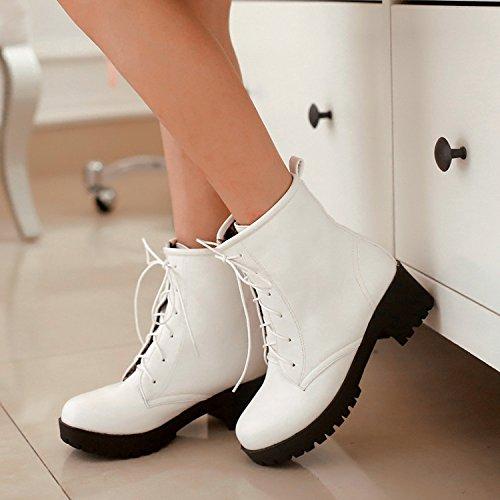 &ZHOU Bottes d'automne et d'hiver courtes bottes femmes adultes Martin bottes Chevalier bottes a8 White