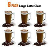 Large Latte Glass Coffee Cups - 385ml (13 oz) - Gift Box of