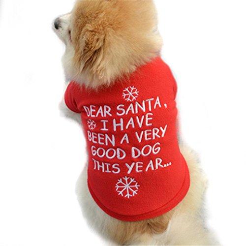 Haustierkleidung,Weihnachten Haustier Welpen Herbst Winter Warm Pullover Hochwertige Bestickte Kleidung (Rot, XS)