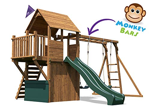 Wooden Playhouse Climbing Frame Childrens Outdoor Play Tower Monkey Bar Swing Set Club House - Dunster House® BalconyFortTM Searcher