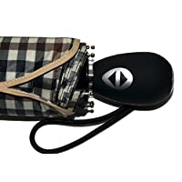BuyElegant Black Checked Fully Automatic Open and Close Travel Umbrella, 3 fold, Light Weight, Windproof Softgrip Compact fits in handbag, Push Button 28 cms