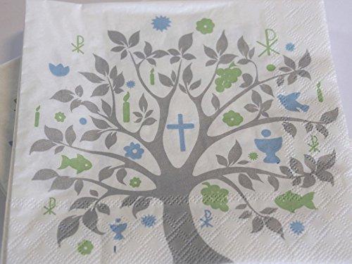 20 Servietten Baum des Lebens Grün Blau Grau Tischdeko Feier Konfirmation Kommunion Taufe - 3