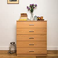 Home Treats Chest of 5 Drawers Bedroom Furniture. Anti-Bowing Clothes Organiser for Any Room.