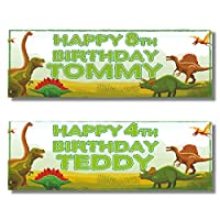 2 Personalised Birthday Banners - Green Dinosaur Design - Any Name & Any Age (Approx 3ft x 1ft)