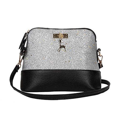 mhängetasche aus Leder | Arbeit Büro Clutch Damentasche Crossbody Damenhandtasche Freizeit Gurt Handtasche Rucksack Schule (Silber) ()