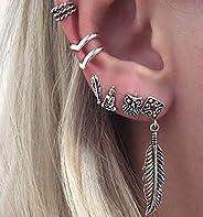 Bohemian Style Stud Earrings Set for Women Alloy Owl Pearls Pendant Hoop Earring