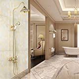 MMYNL Badarmaturen thermostatische Dusche Set Badewanne & Dusche Systeme Antique Gold Dusche an der Wand montierte Kupfer Düse + Hand Duscharmaturen