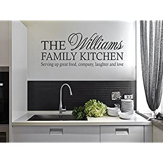 PERSONALISED Family Kitchen Wall Art Quote, Sticker, Vinyl Decal, PVC Dark Grey | Large 100cm (w) x 42cm (h) 40