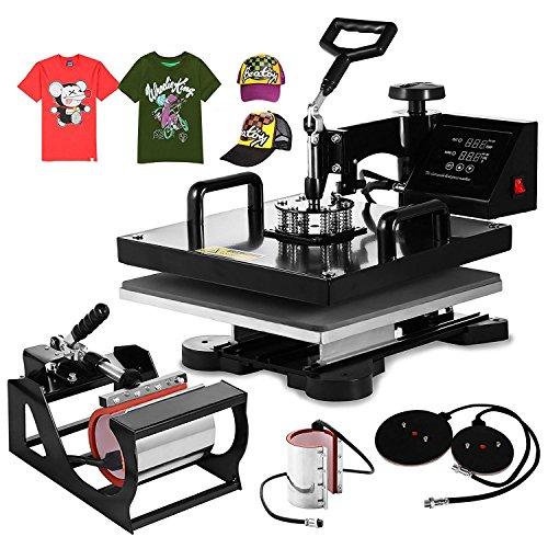 Ztopia Heißpresse Upgraded Transferpresse Sublimations Maschine 5 in 1 T Shirt Heat Press Machine 38x38cm Tassenpresse und Cap Presse für Platten Becher Schalen Hut (6 IN 1 38X38CM) (15 X15 Hitze-presse)