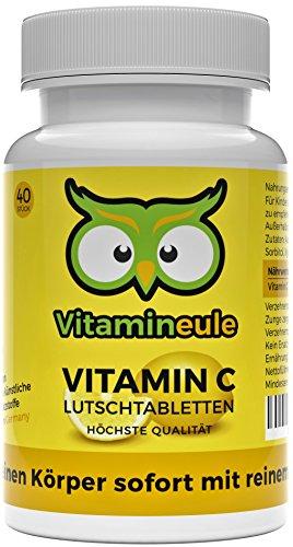 Vitamin C Lutschtabletten - hochdosiert - ohne künstliche Zusätze & vegan - leckere Lutschtabletten statt Vitamin C Kapseln/Pulver - für das Immunsystem - Qualität aus Deutschland - Vitamineule®