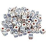 a74c54422d 100 Pieces 6-Sided Gioco Dadi Set Bordi Arrotondati Dadi Bianco Blu Rosso  Plastica Scuotimento