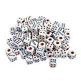 100 piezas 6-sided juego dados Set bordes redondeados dados blanco azul rojo plástico sacudiendo dados Lucky juego apoyos para Tenzi, Farkle, Yahtzee, Bunco o enseñando matemáticas