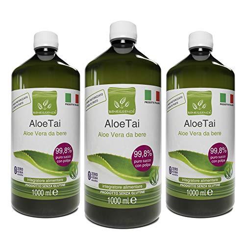 Succo e Polpa di Aloe Vera da Bere Non Pastorizzato e Non Filtrato - Made in Italy Dalle Nostre Coltivazioni - 3L