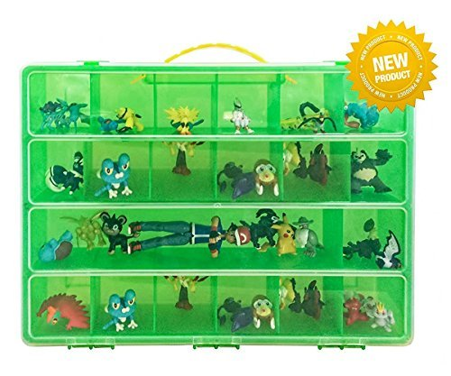 Battle Toy Organizer - The Perfect Toy Figure Storage Box- Fits Up to 40 Figures In All Styles - Large Sturdy Case And Carrying Handle (Lime/Green) - Bandai Mini-figur Pokemon