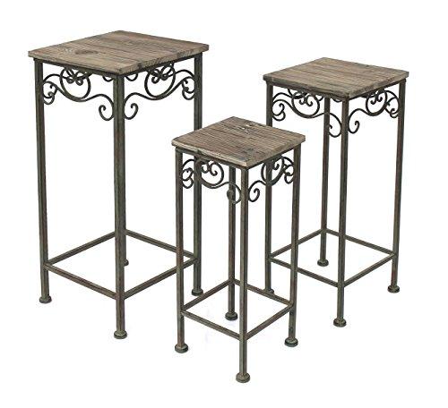 DanDiBo Blumenhocker Metall Eckig 3er Set 56, 64, 72 cm Blumenständer 11134 Beistelltisch Pflanzenständer Holzablage Blumensäule