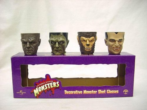 Monsters Universal Studios Dekorative Shot Gläser Glas Set von 4