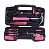 Tragbare Dame Werkzeugkoffer Haushalts Handwerkzeug Set Leichte Allgemeiner Werkzeugsatz Home Tool Kit mit Tragetasche (40-tlg Pink Werkzeugkoffer)