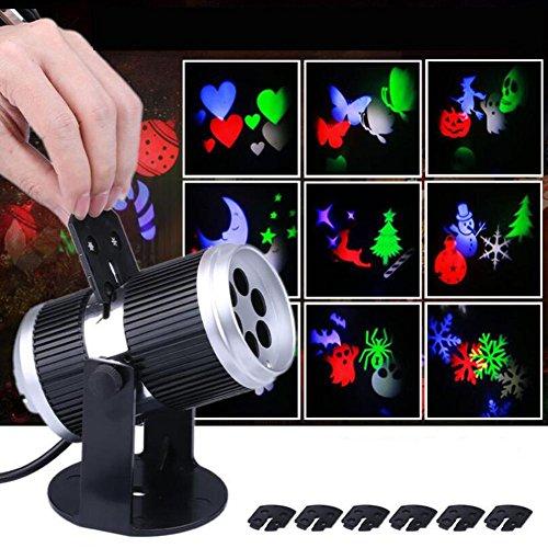 IAGM LED Projektionslampe 12 Karten-Karte l Schneeflocke-Projektionslampe Halloween Weihnachten