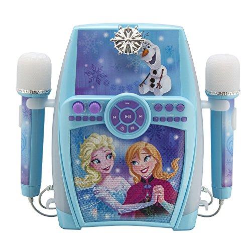 eKids FR-615 Disney Frozen Karaoke Maschine mit Aufnahme-Funktion und 2 Mikrofonen für Kinder; Audio-Anschluss für Smartphones und MP3-Player