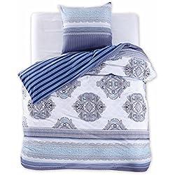 DecoKing 98264 155x220 cm Bettwäsche mit 1 Kissenbezug 80x80 Renforcé Bettwäscheset 100% Baumwolle Reißverschluss Diamond Collection Brooke blau weiß