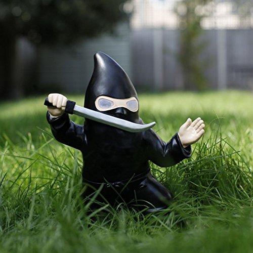 Ninja Gartenzwerg mit Solarzelle und leuchtenden Augen – Ninja Solar Garten Zwerg Gartenfigur Gnome mit Solarzelle und leuchtenden Augen - 2