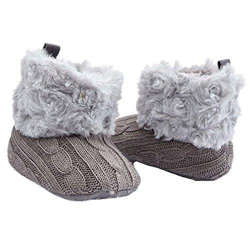 Fletion Neu Plüsch Babyschuhe Winter Wolle Baby Stiefel Weich Sohle Warme Boots Kleinkind Baumwolle Stiefel Grau