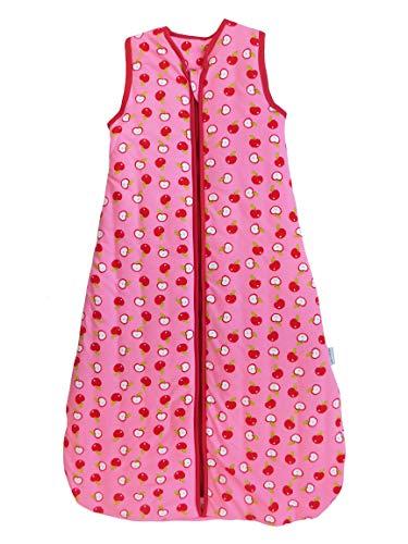 Schlummersack Babyschlafsack in rosa für Mädchen für den Sommer 1.0 Tog - Äpfel - 6-18 Monate/90 cm