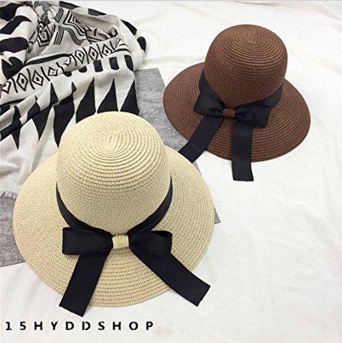 SHINA Femmes fille anti - uv pliables et chapeau de paille à la mode tissés à la main la plage large bord hat soleil pac kid-Café Foncé