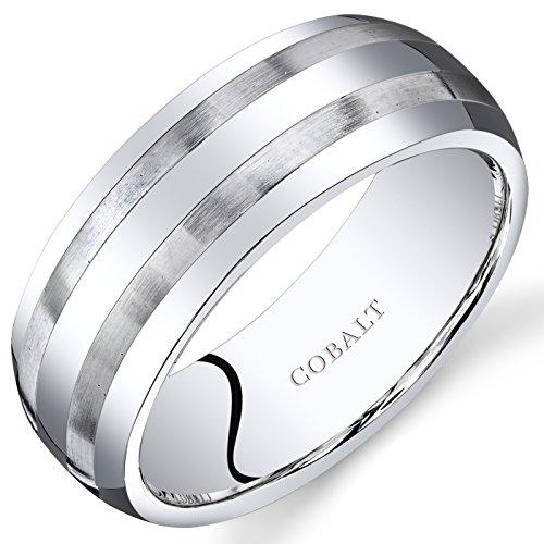 Revoni Herren 8mm Cobalt Hochzeit Band Ring Abgeschrägte Kante Bürste Streifen (Herren Cobalt Ring Hochzeit)